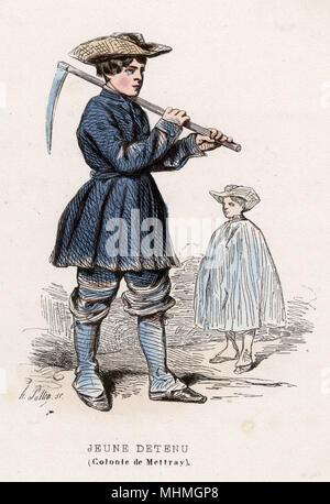 A 'jeune detenu' or juvenile prisoner at the Colonie de Mettray, a reformatory.     Date: 1850 - Stock Image