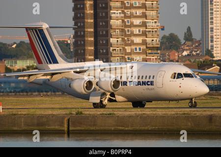 Air France (CityJet) British Aerospace BAe-146-200A taxiing at London City Airport, England, UK - Stock Image