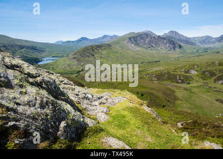 View from Crimpiau mountain top to Ogwen Valley and Snowdon horseshoe in Snowdonia National Park. Capel Curig, Conwy, north Wales, UK, Britain - Stock Image