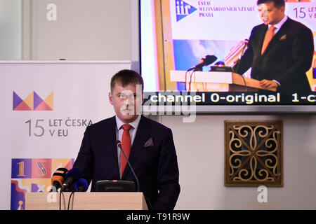 Prague, Czech Republic. 16th May, 2019. The Czech Republic has no alternative to its EU membership and it is not looking for any, Foreign Minister Tomas Petricek (Social Democrats, CSSD) said at the conference on the 15 years of Czech EU membership in Prague, Czech Republic, May 16, 2019. Credit: Roman Vondrous/CTK Photo/Alamy Live News - Stock Image