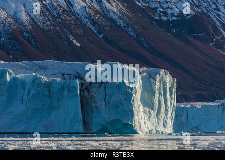 Greenland. Scoresby Sund. Gasefjord. Giant iceberg and glacier that spawned it. - Stock Image