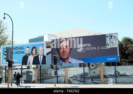 Portuguese MEP Nuno Melo on a billboard in Porto City Centre street next to Aliança poster in 2019 European elections Portugal Europe EU  KATHY DEWITT - Stock Image