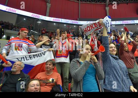 Karlovy Vary, Czech Republic. 18th Apr, 2019. Czech fans react during the Euro Hockey Challenge match Czech Republic vs Germany in Karlovy Vary, Czech Republic, April 18, 2019. Credit: Slavomir Kubes/CTK Photo/Alamy Live News - Stock Image