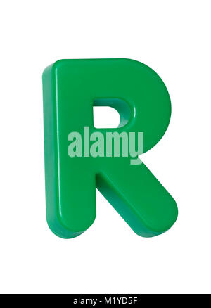 A cut out shot of a green plastic letter 'R' - Stock Image