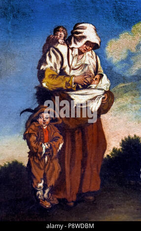 Donna e Bimbi - Woman and Children by Matteo de' Pitocchi (Matteo Ghidoni) (Italian, 1626–1700) Italy - Stock Image