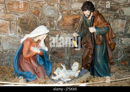 Joseph Mary and Baby Jesus statues in Virgin Mary house, Ephesus , Turkey - Stock Image