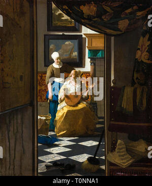 Johannes Vermeer, The Love Letter, painting, c. 1669 - Stock Image