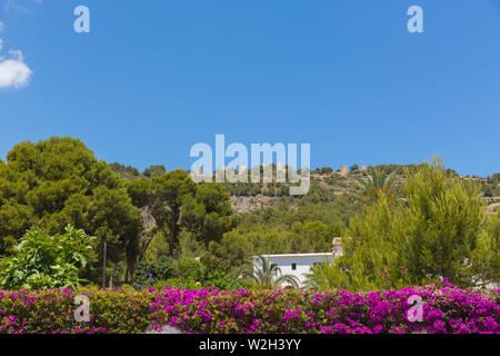 Xabia Spain view from town hills including beautiful bougainvillea flowers in summer - Stock Image