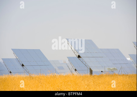 Solar Panels, Solucar Solar Power Station, Seville, Andalucia, Spain - Stock Image