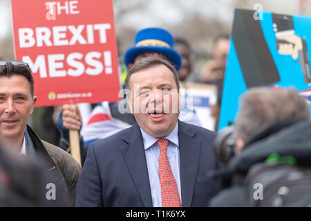 London 27th March 2019,  Arron Banks, co-founder of Leave EU being pursued by Anti brexit proteters in Westminster Credit Ian Davidson/Alamy Live News - Stock Image