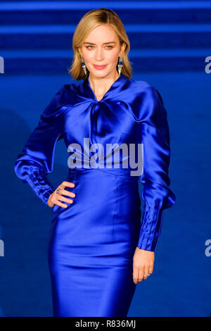 London, UK. 12th December, 2018. Emily Blunt at the European Premier of Mary Poppins Returns on Wednesday 12 December 2018 held at The Royal Albert Hall, London. Pictured: Emily Blunt. Credit: Julie Edwards/Alamy Live News - Stock Image
