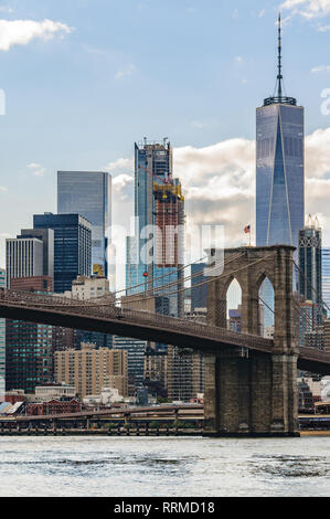 NYC Skyline from DUMBO in the district of Brooklyn, New York, USA - Stock Image