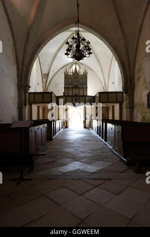 Karja Church is a medieval Lutheran church located in Linnaka village on Saaremaa island, Estonia. - Stock Image