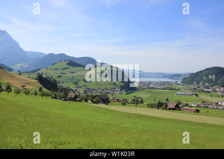 Rural landscape on the way from Stans to Mount Stanserhorn, Switzerland. - Stock Image