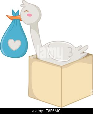 stork holding a clothbag with box icon cartoon vector illustration graphic design - Stock Image