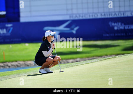 30 March, 2017: Amy Yang on the 18th hole during the first round of the ANA Inspiration at the Dinah Shore Tournament - Stock Image