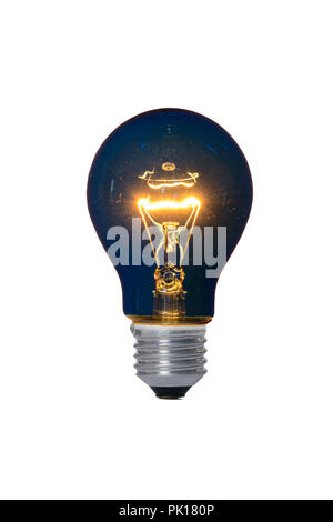 Incandescent lamp with glass bulb and E27 europe blue attachment for reading. Old standard of consumption obsolete and prohibited by current regulatio - Stock Image