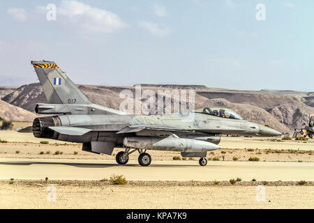 """Greek Air Force General Dynamics F-16C Block 52+ Ready for take off. Photographed at the  """"Blue-Flag"""" 2017, an international - Stock Image"""