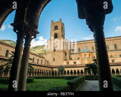 The Normal architecture of the Cathedral of Monreale, a town in the Metropolitan City of Palermo, Sicily, Italy - Stock Image