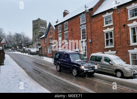 "Ashbourne, Derbyshire, UK. 21st Jan, 2018. UK Weather: 1.5"" of snow fell in 2hrs this morning making difficult driving - Stock Image"