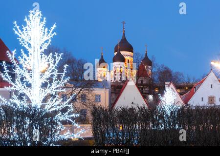 Night street in the Old Town of Tallinn, Estonia - Stock Image