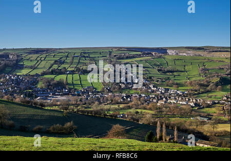 Village of Bradwell surrounded by fields with drystone walls. Peak District National Park, Derbyshire, England. - Stock Image