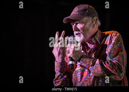 Roskilde, Denmark. 20th June, 2019. Roskilde, Denmark - June 20th, 2019. The American surf rock and vocal group The Beach Boys performs a live concert at Roskilde Kongrescenter in Roskilde. Here singer, songwriter and musician Mike Love is seen live on stage. (Photo Credit: Gonzales Photo/Alamy Live News - Stock Image