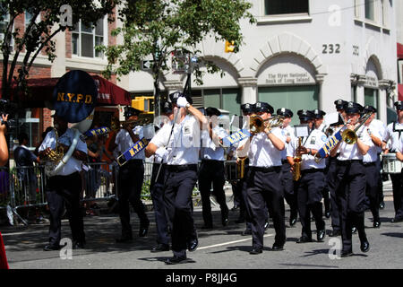 NEW YORK, NY - AUGUST 21: NYPD Band marches in the 36th India Day Parade to celebrate India's Independence Day on Madison Avenue, Manhattan, NY - Stock Image