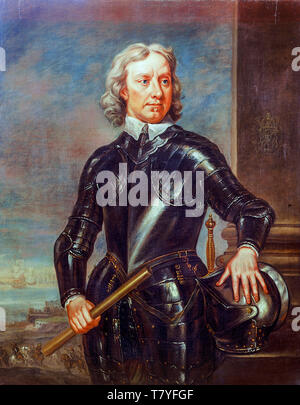 Oliver Cromwell in armour, portrait painting by Robert Walker after Samuel Cooper, early 18th Century - Stock Image