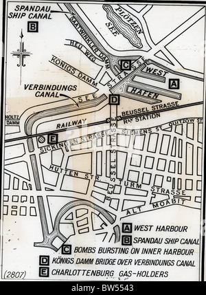 Berlin Map of Attack in 1940 - Stock Image