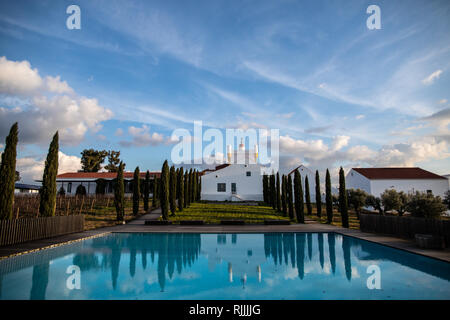 The Torre de Palma Wine Hotel viewed from the swimming pool - Stock Image