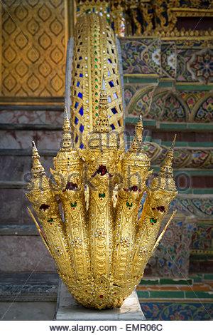 Nāga - Temple of the Emerald Buddha - Wat Phra Kaew - in Bangkok (Thailand) - Stock Image