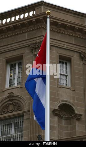 Flag at the New Cuban embassy Washington D C - Stock Image