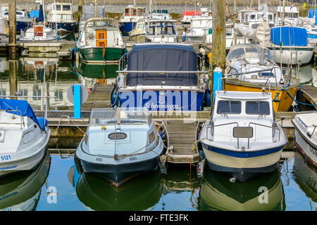 Boats in the yachting port of Scheveningen, Holland - Stock Image