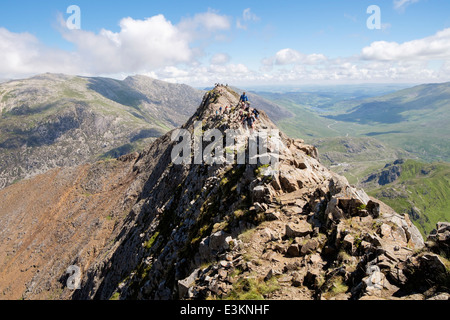View back along red rocky Crib Goch ridge top scramble with hikers at start of Snowdon Horseshoe in mountains Snowdonia - Stock Image
