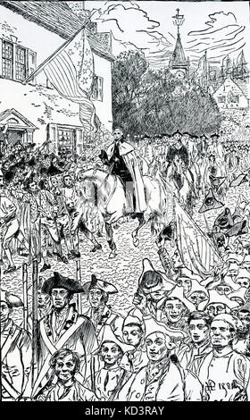 George Washington procession to his inauguration as the first President of the United States, 1789. Illustration - Stock Image