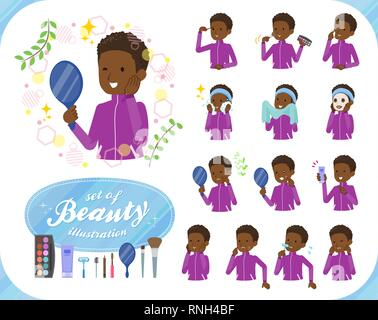 A set of school boy in sportswear on beauty.There are various actions such as skin care and makeup.It's vector art so it's easy to edit. - Stock Image