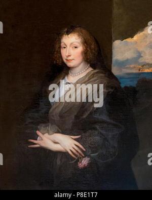 Portrait of a Woman with a Rose, Anthony van Dyck, circa 1635-1639, Isabella Stewart Gardner Museum, Boston, Mass, Massachusetts, North America, US, U - Stock Image