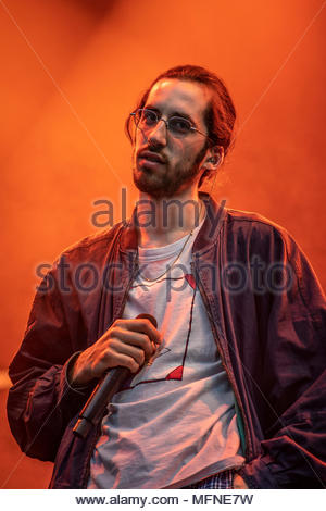 Lomepal performing live at the first edition of MUSILAC Mont-Blanc music festival in Chamonix (France) - 20 April 2018 - Stock Image
