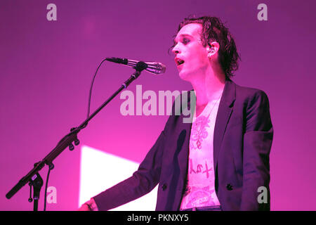 Matthew Healy, lead singer of The 1975, onstage during a major festival performance in 2017. Matty Healy, Matt Healy, The 1975 singer. - Stock Image
