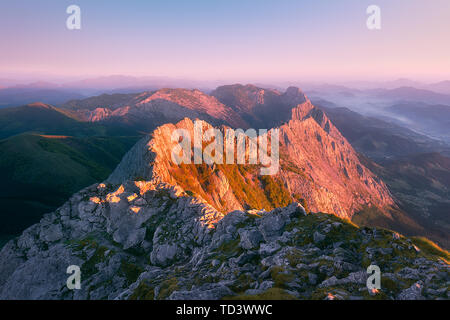 View of Anboto mountain range at sunrise - Stock Image