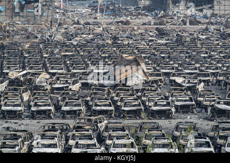 Tianjin, China. 17th Aug, 2015. Tianjin Explosion aftermath, blast site. Credit: Jayne Russell/ZUMA Wire/Alamy Live - Stock Image