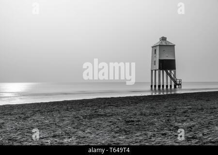Low Lighthouse on the mudflats of the Bristol Channel at Burnham-on-Sea, Somerset England UK. April 2019 - Stock Image