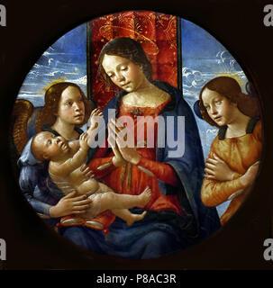 Madonna col Bambino e Angeli - Madonna and Child with Angels by Domenico Ghirlandaio 1448 – 1494 ( Domenico di Tommaso Curradi di Doffo Bigordi ), Florence, Italy, Italian. - Stock Image
