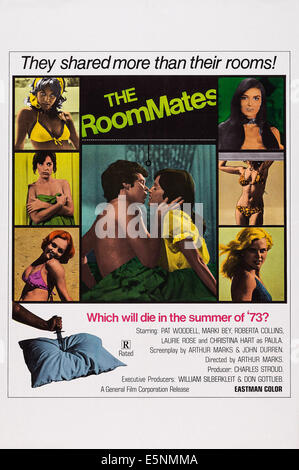 THE ROOMMATES, US poster art, left from top: Marki Bey, Roberta Collins, Christina Hart, right from top: Pat Woodell, - Stock Image