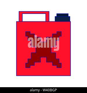Videogame pixelated fuel can isolated symbol blue lines - Stock Image