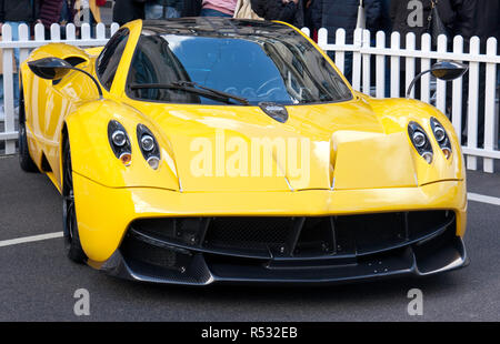 Three-quarter front view of  a  Pagani Huayra, in the supercar paddock at the 2018 Regents Street Motor Show - Stock Image