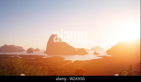 Beautiful landscape of a green, tropical island - Stock Image
