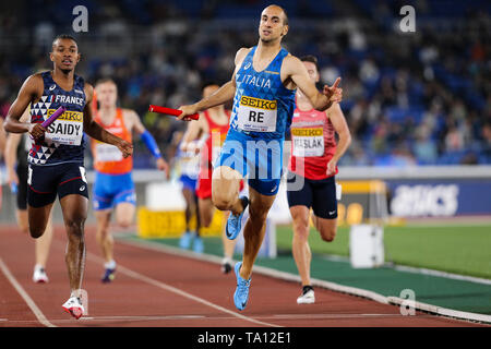 YOKOHAMA, JAPAN - MAY 12: Davide Re of Italy in the B final of the mens 4x400m  during Day 2 of the 2019 IAAF World Relay Championships at the Nissan Stadium on Sunday May 12, 2019 in Yokohama, Japan. (Photo by Roger Sedres for the IAAF) - Stock Image