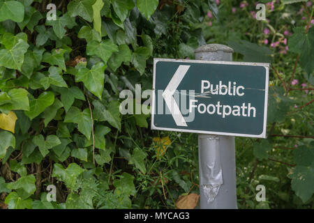 Public footpath sign near Truro, Cornwall. Stay on the right path, on the right path metaphor. - Stock Image